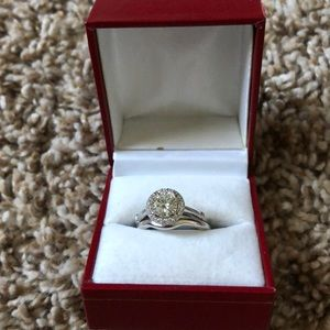 Moissonite Engagement Ring + Wedding Band